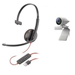 Poly Studio P5 with Blackwire 3210 [USB-A] - Профессиональная веб-камера и проводная гарнитура на одно ухо (Polycom)